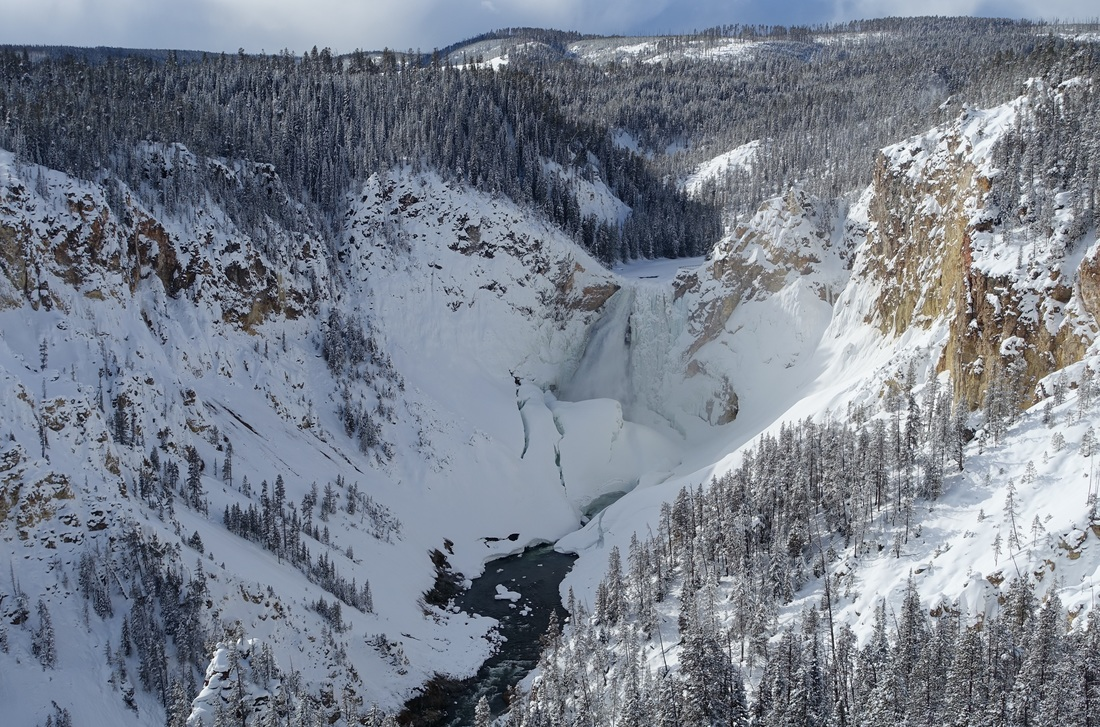 Lower Falls in Yellowstone in winter