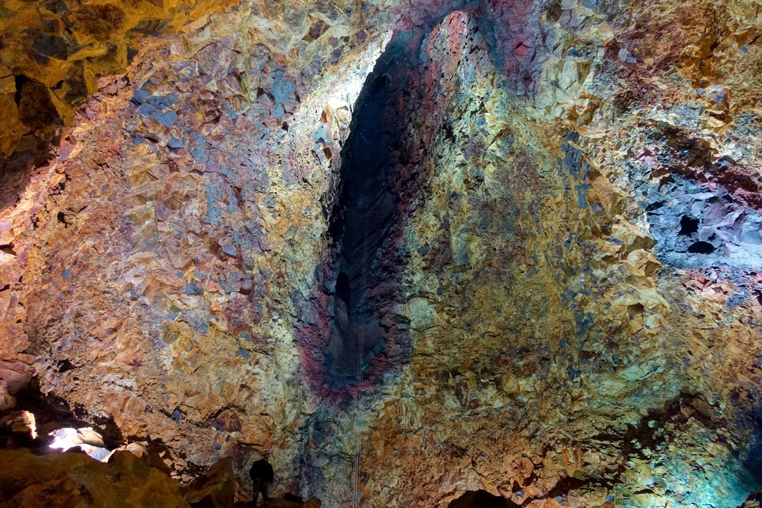 Multi colors of the volcanic rock cave
