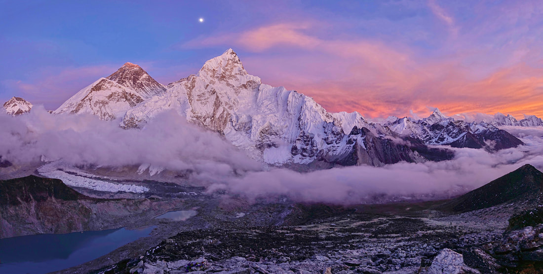 Sunset panorama from Kala Patthar of Mount Everest and surrounding peaks