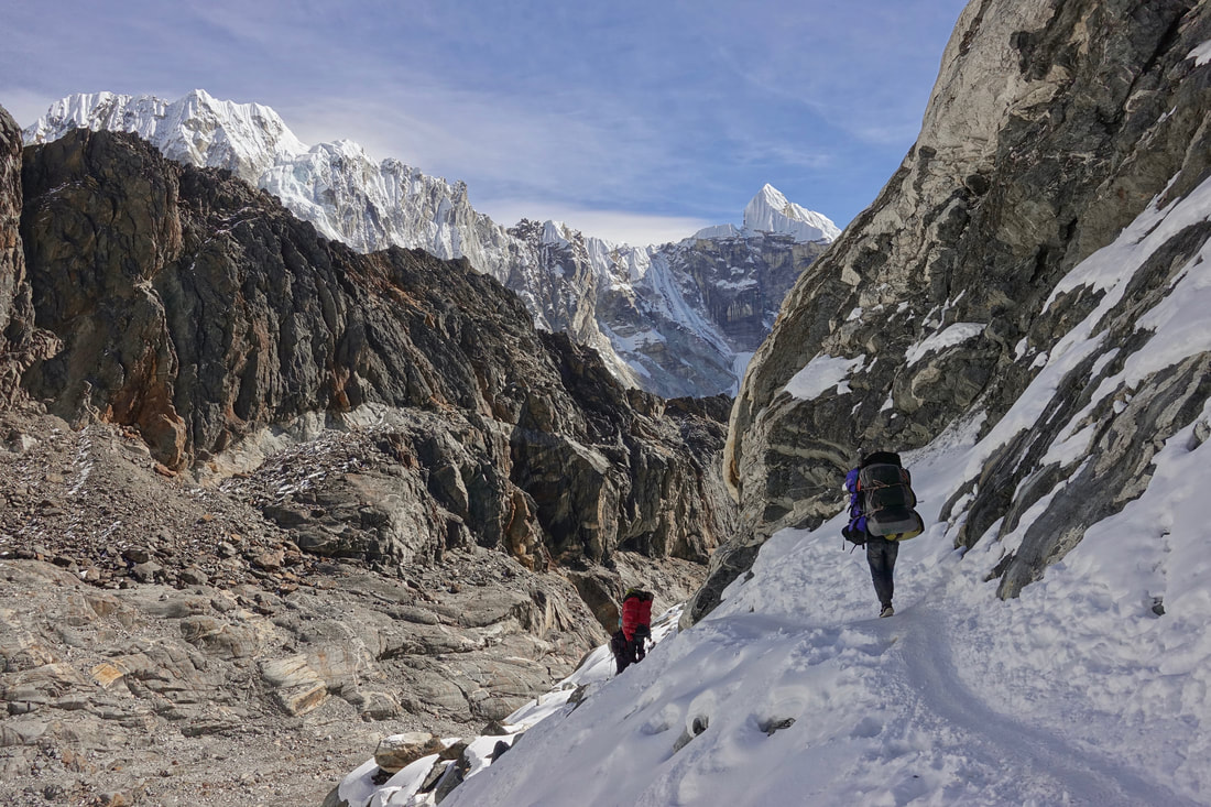 Snowy section on Chola La on the Three Passes trek in Nepal