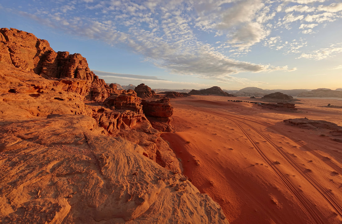 Wadi Rum sunset on a multi-day backpacking hiking trip through the desert