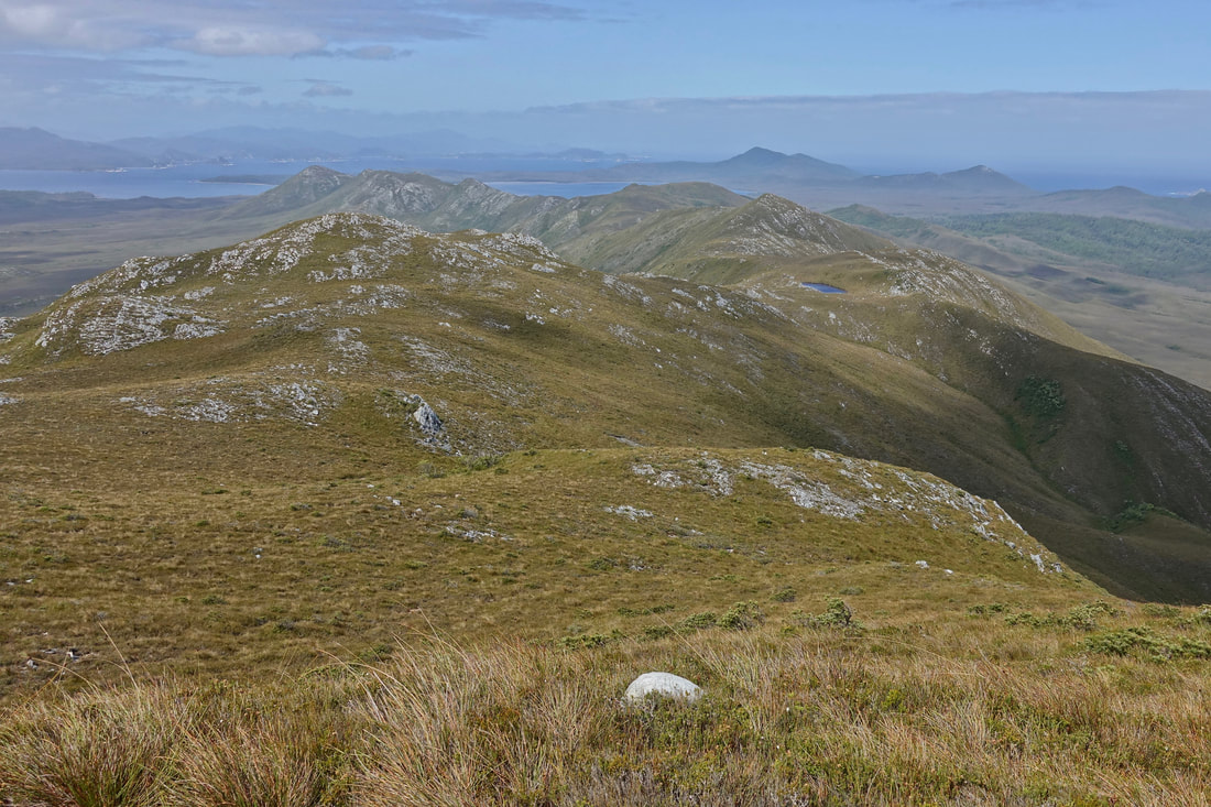 Hiking the ridge line of the De Witt Range in Southwest Tasmania
