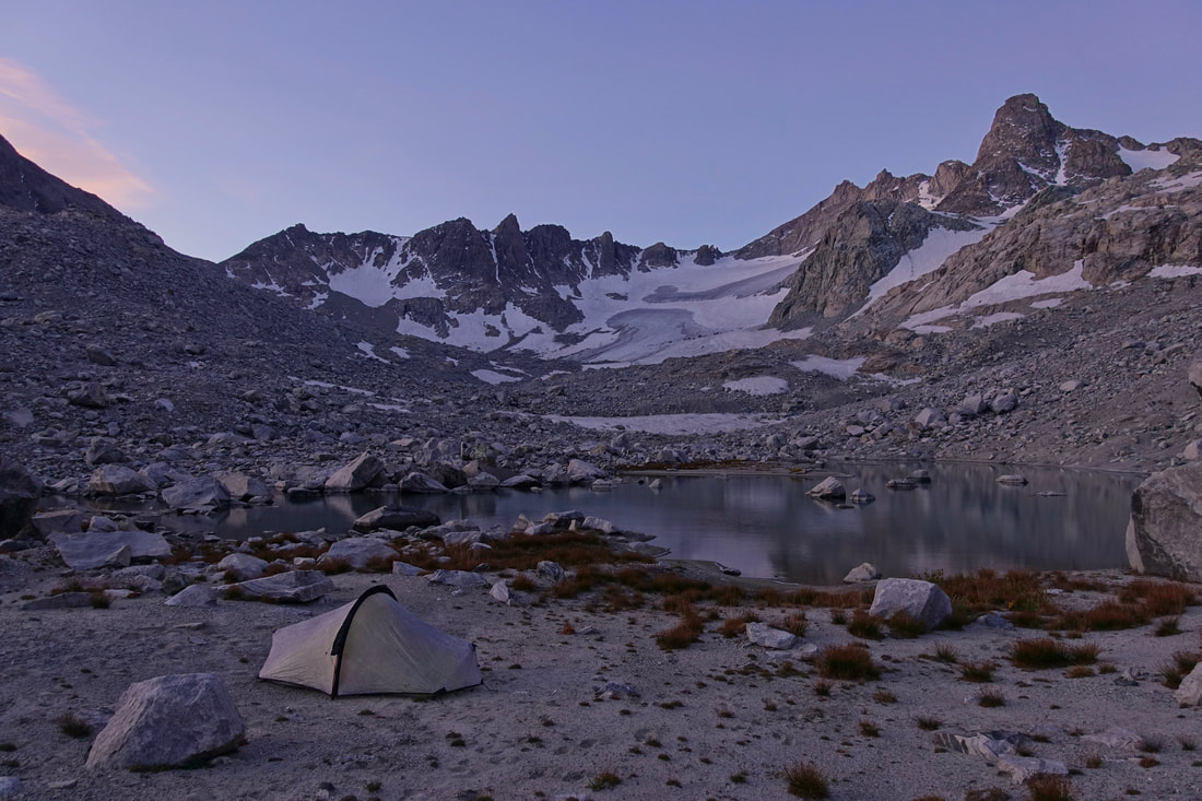 Beach campsite at the bottom of the Knifepoint Glacier in the Wind River range