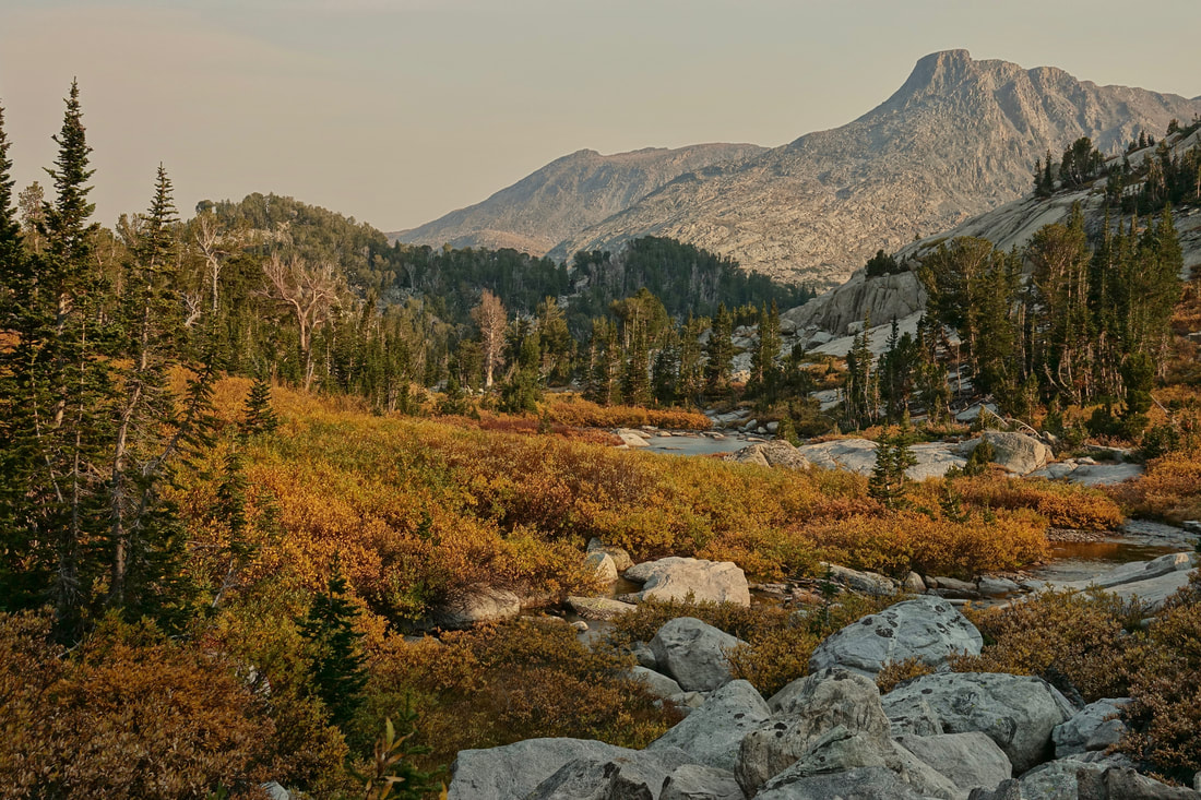 Fall colors and Douglas Peak on hike in the Wind River Range