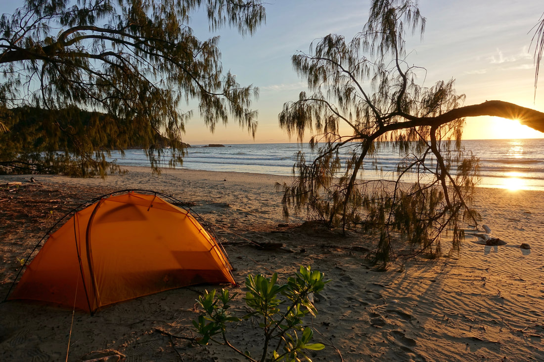 Thorsborne trail campsite on the hike in Hinchinbrook Island in Queensland