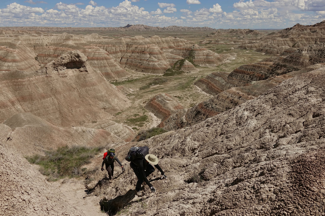 Backcountry walk through Badlands National park in South Dakota