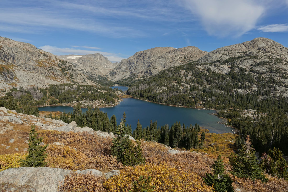 Looking back at Golden Lakes while climbing Hay Pass in the Wind River Range