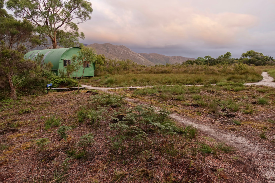 Walker's huts in Melaleuca Tasmania at the end