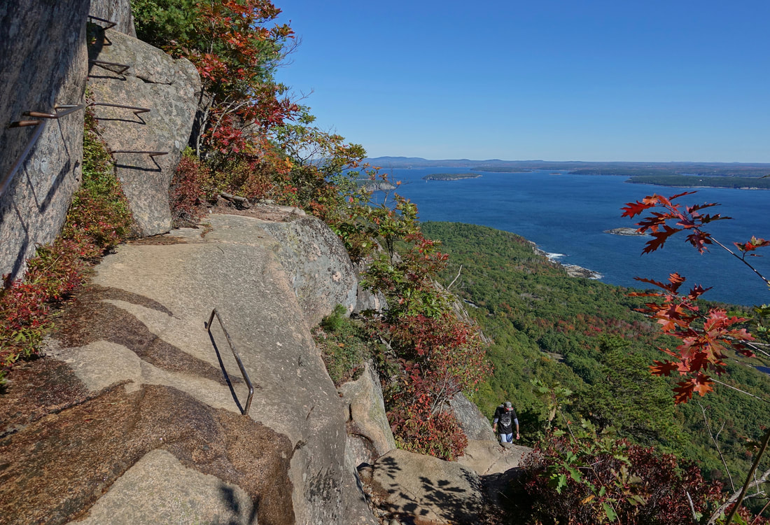 Precipice trail hike up Champlain mountain in Acadia