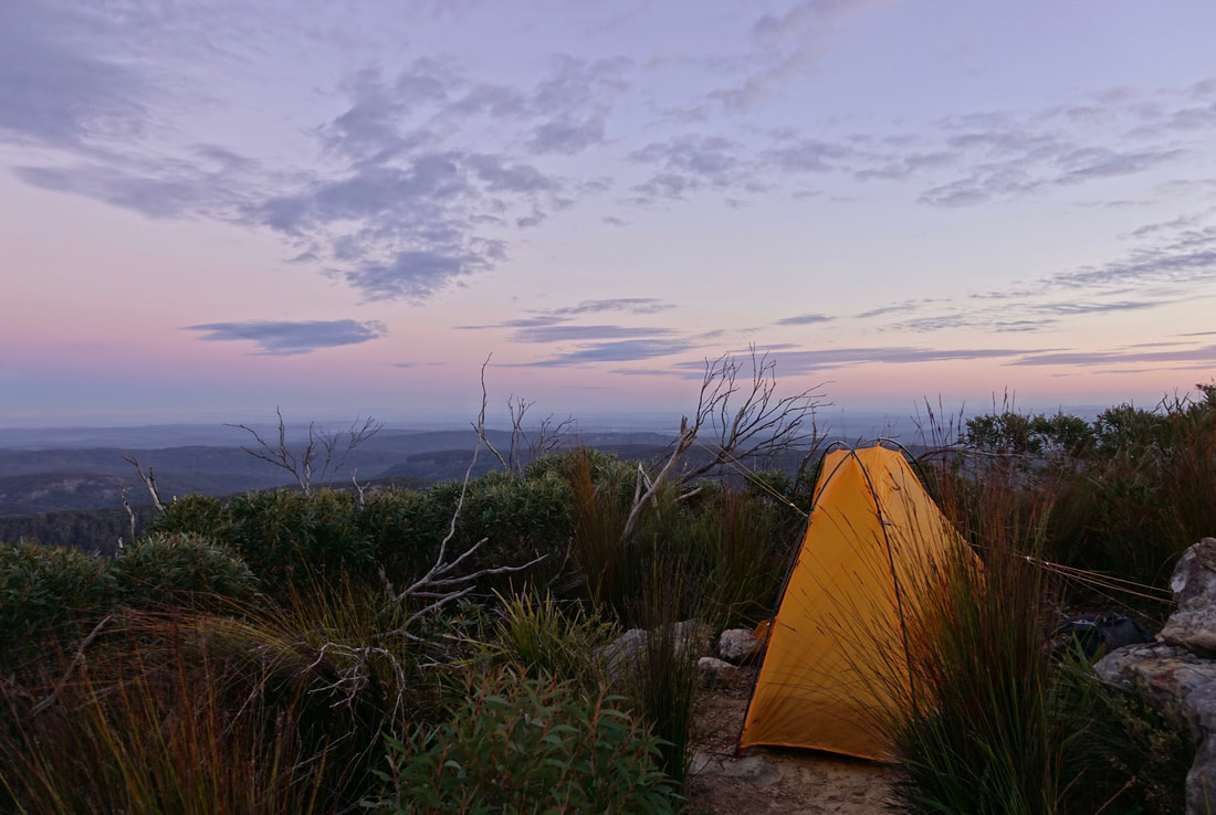 Corang peak summit camp in Morton National Park, Australia