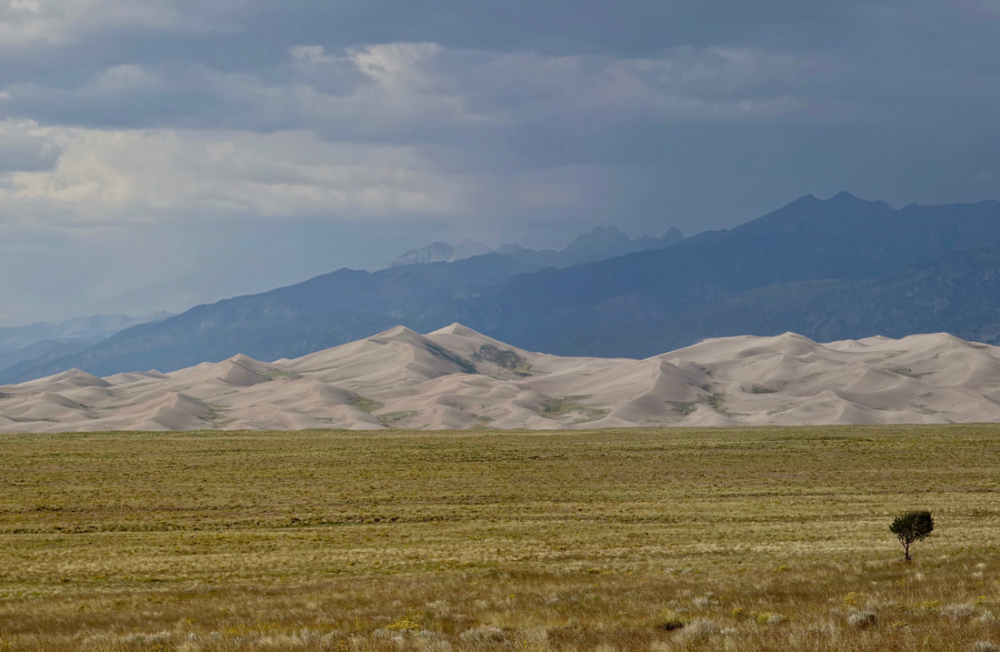 Great Sand Dunes National park between the mountain ranges in Colorado