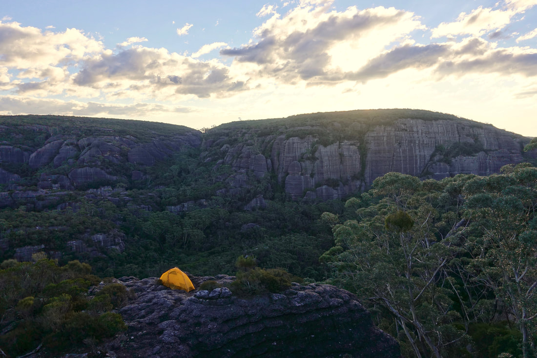 Shrouded Gods Mountain summit camp in the Monolith Valley of the Budawangs in Australia