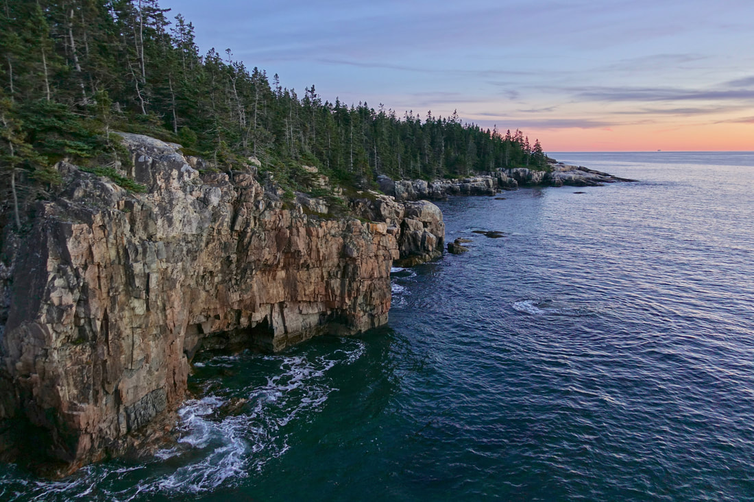 Schoodic peninsula at sunset in the Ravens nest area of Acadia