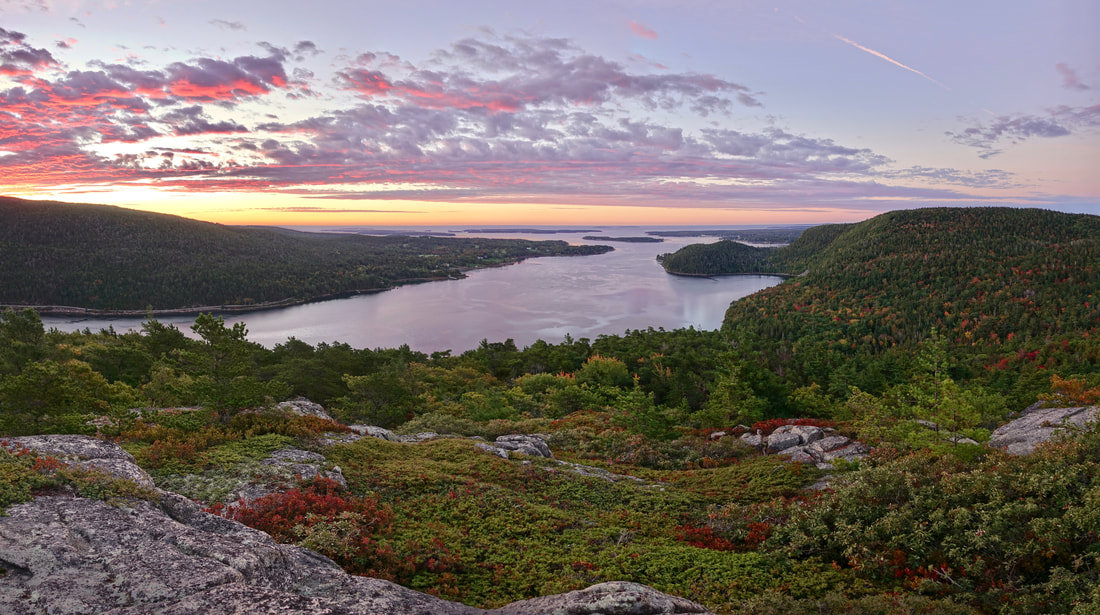 Acadia Mountain sunrise summit hike over Somes Sound