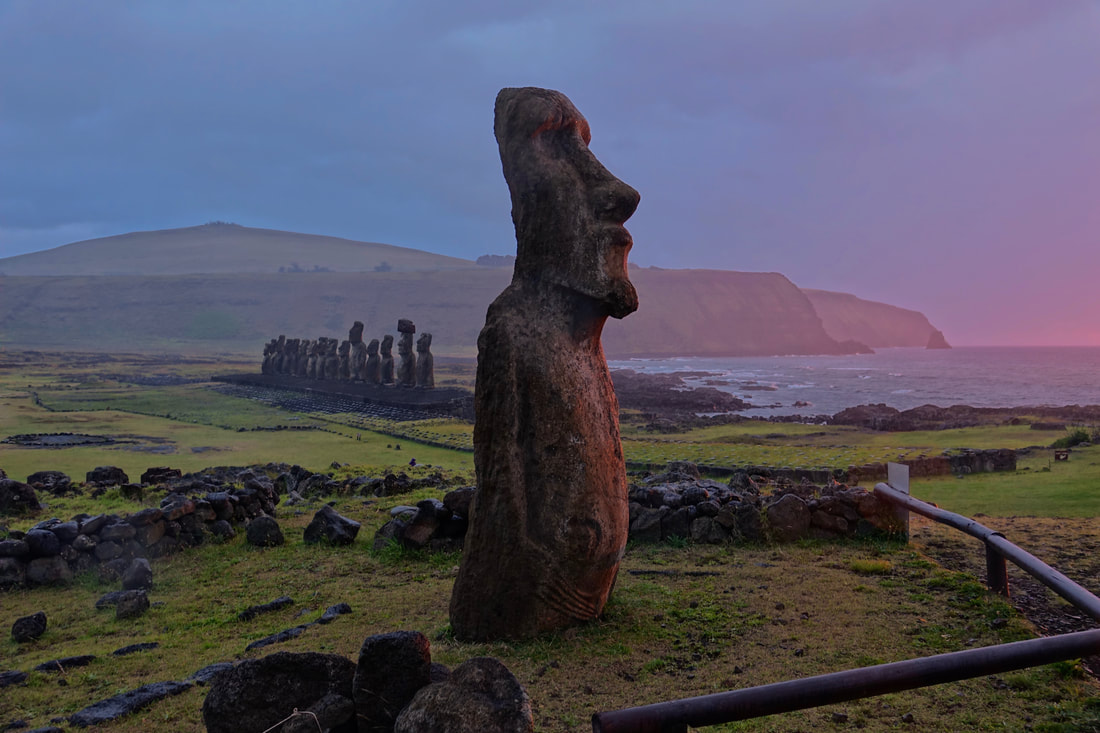 Sunrise at Ahu Tongariki on Easter Island in Chile