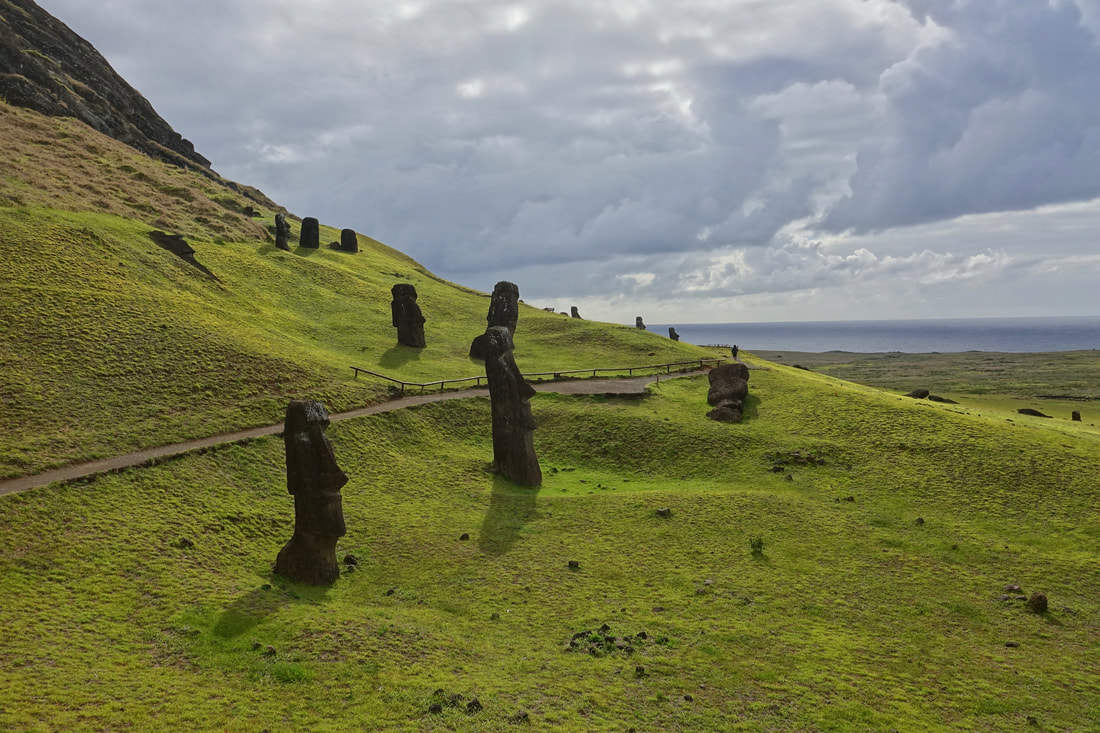 Moais on the Rano Raraku hike on Easter Island in chile