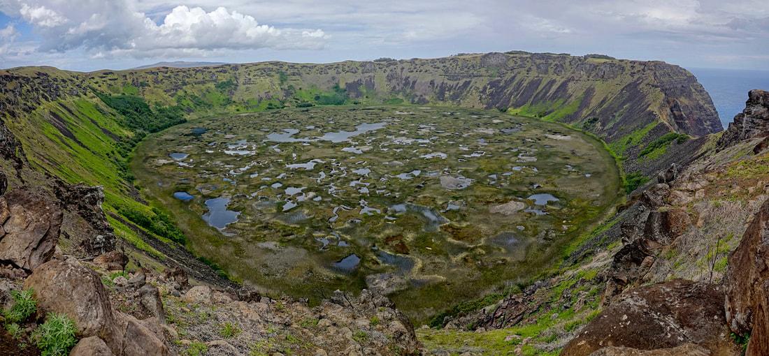 Crater Lake of Rano Kau on the south of Easter Island in Chile