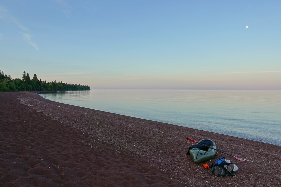Packrafting hike in Isle Royale National Park at Rainbow Cove