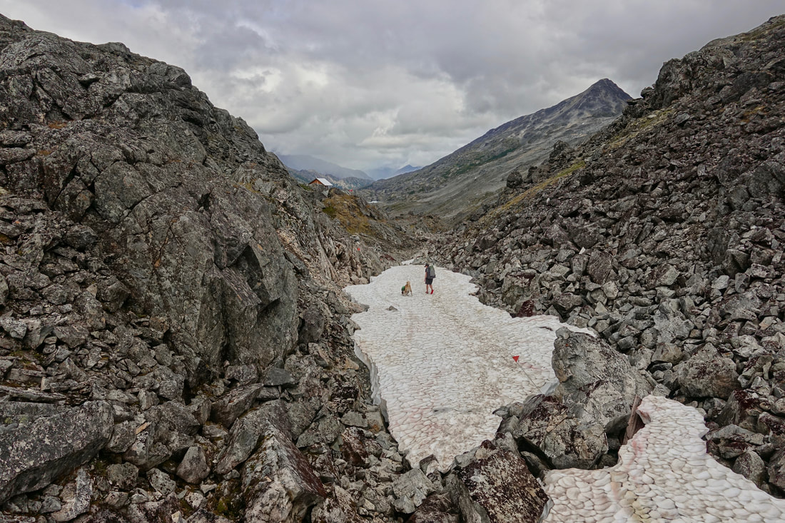 Chilkoot pass hike at the border of the trail between Alaska and Canada