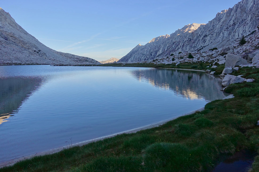 Upper Mills Creek Lake in the morning on the way to Gabbot Pass on the Sierra High Route