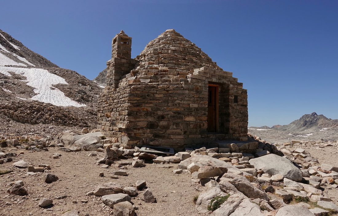 Warming hut at Muir Pass on the John Muir trail in California