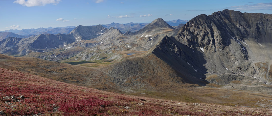 View from the summit of Mount Belford in the Collegiate Peaks Wilderness in Colorado