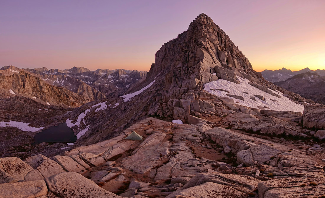 Potluck pass sunset in the Palisade range of the Sierras on the Sierra High Route in California