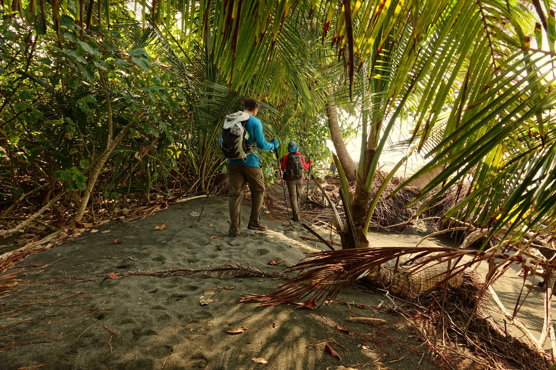 The beach walk to Le Leona in Corcovado National Park hike