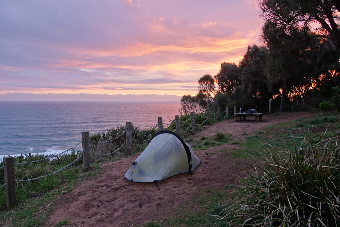 Johanna beach camping at sunset in Victoria
