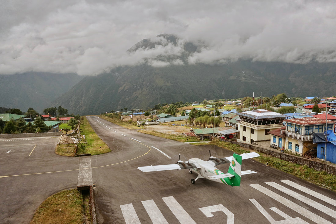 Lukla airport on the incline