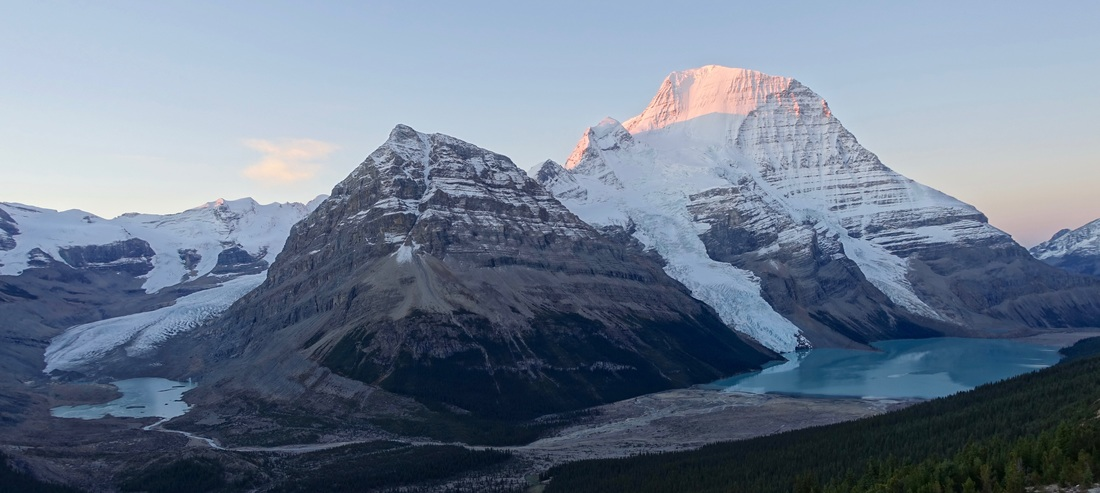 Panorama of Mount Robson at sunrise