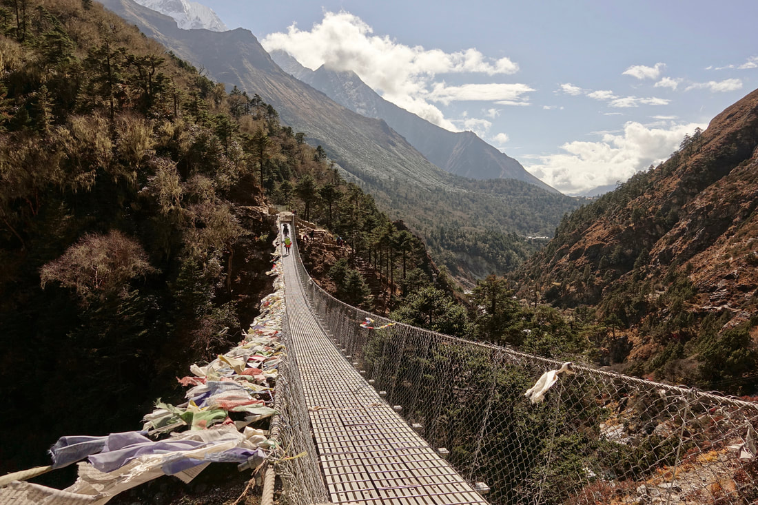 Suspension bridges on the route up to Everest