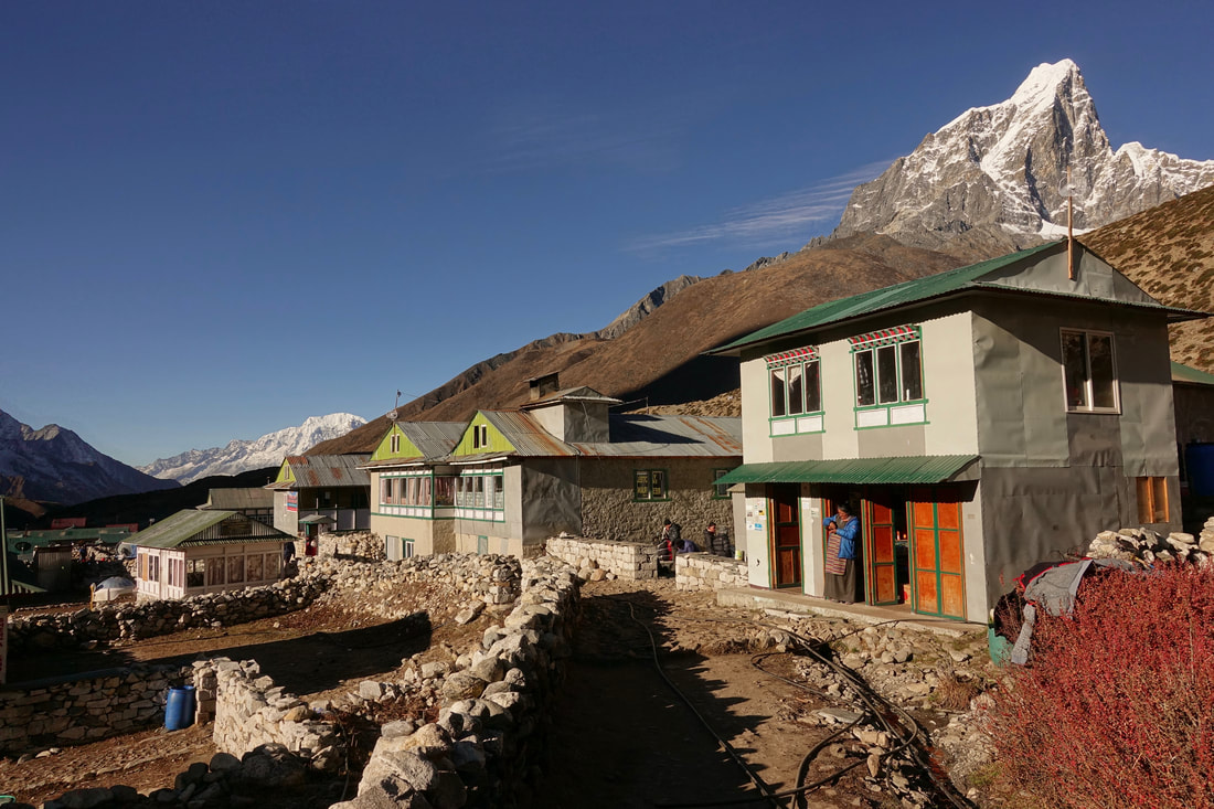 Village of Dingboche with Taboche in the background